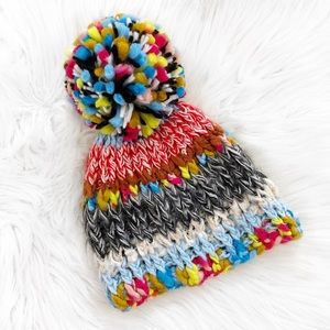 Zara Oversized Pom Pom Chunky Knit Beanie Hat